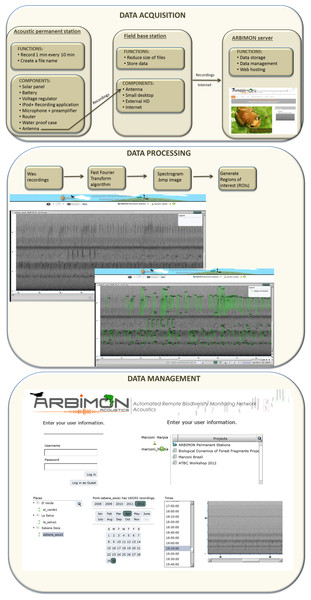 Workflow of data acquisition, processing, and management.