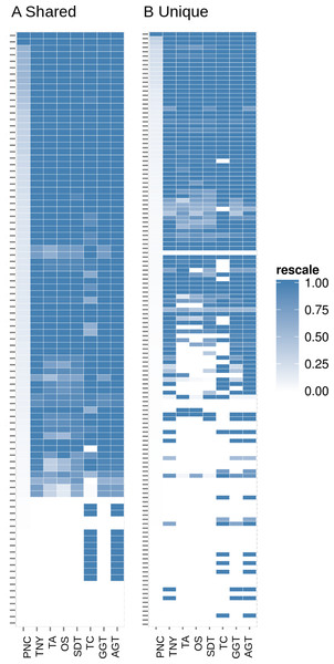 Heatmap analyses of %length recovery of shared and unique transcript regions of the zebrafish hox gene cluster.