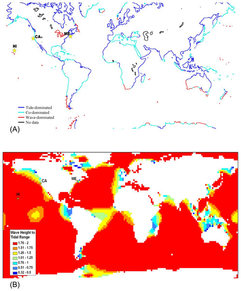 Global map classifying shorelines according to relative wave and tidal ranges.