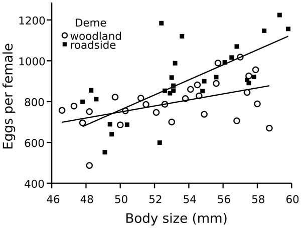 Wood frog fecundity in relation to female size and deme.