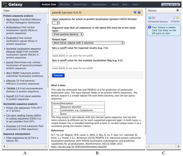 Screenshot of the Galaxy PSORTb v3.0 wrapper.
