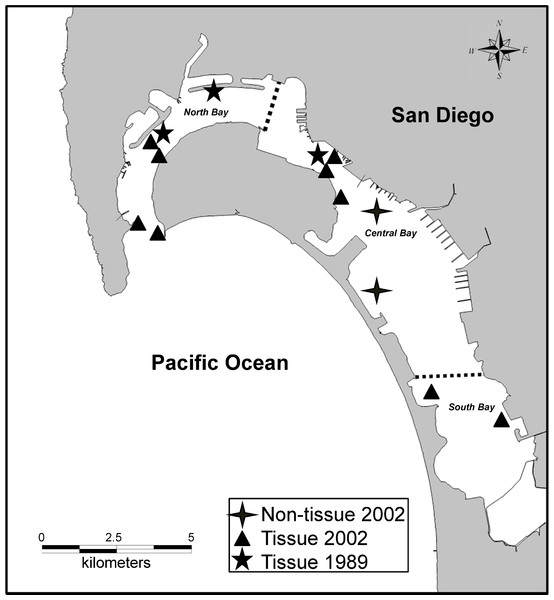 San Diego Bay sampling sites in San Diego, CA, USA (32.66987 N, 117.139521 W).