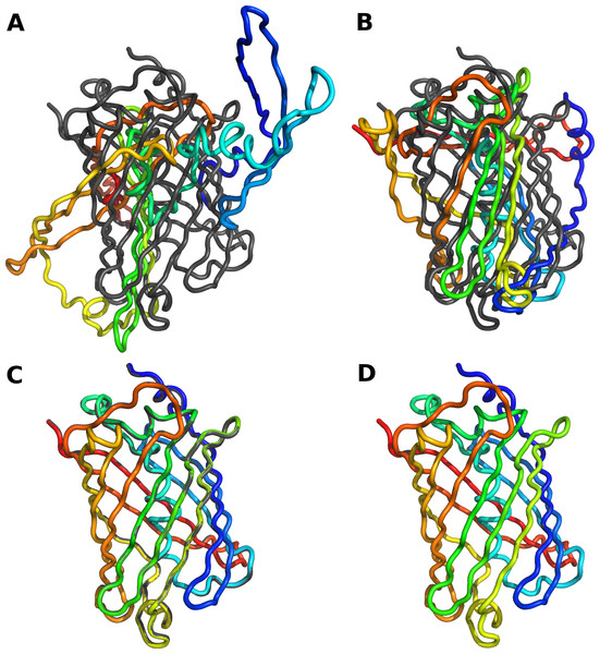 Reconstruction of protein backbone using varying degrees of modeling accuracy.