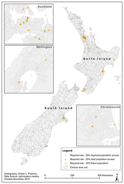 Optimised locations of farmers' markets to reach 25% of total population, Māori population and deprived groups.