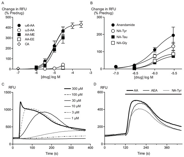 Arachidonic acid and related molecules elevate calcium in HEK 293 cells expressing hTRPA1.
