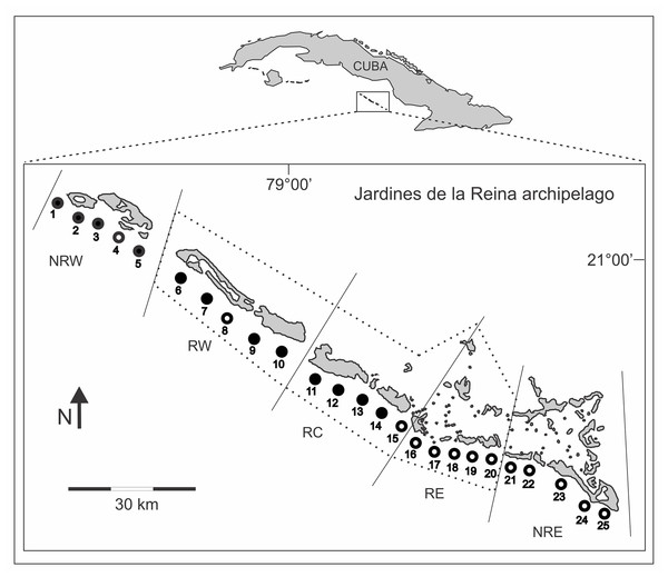 Location of survey sites across the Gardens of the Queen (Jardines de la Reina) archipelago.