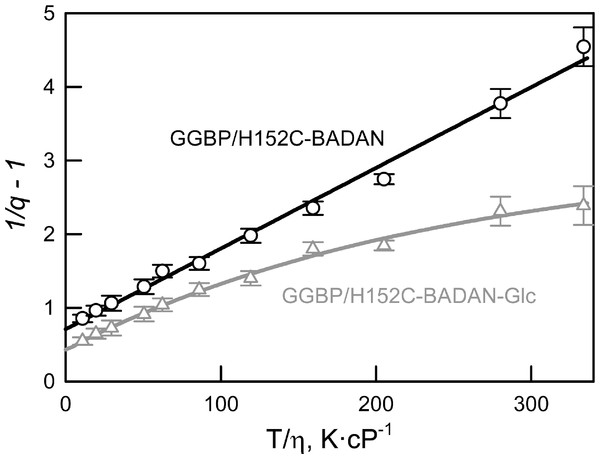 The effect of solvent viscosity and temperature on the fluorescence quantum yield of the GGBP/H152C-BADAN in the open (circles) and closed (triangles) forms.