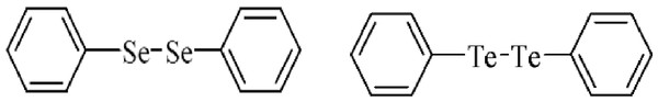 Structure of diphenyl diselenide and diphenyl ditelluride.