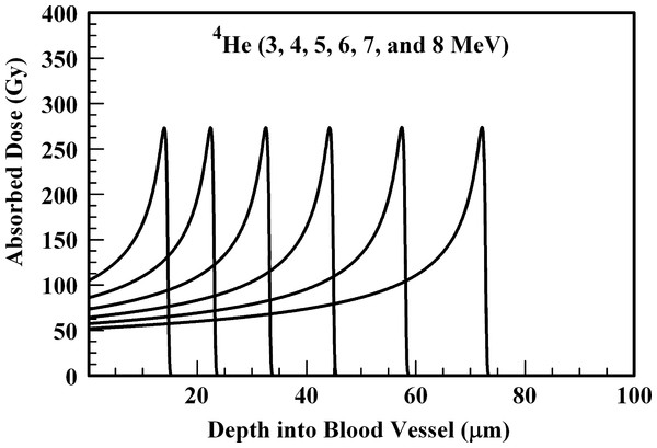 Absorbed dose profiles for 3.0 (far left curve), 4.0, 5.0, 6.0, 7.0, and 8.0 (far right curve) MeV 4He ions in water.