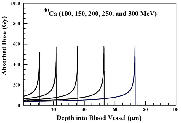 Absorbed dose profiles for 100.0 (far left curve), 150.0, 200.0, 250.0, and 300.0 (far right curve) MeV 40Ca ions in water.
