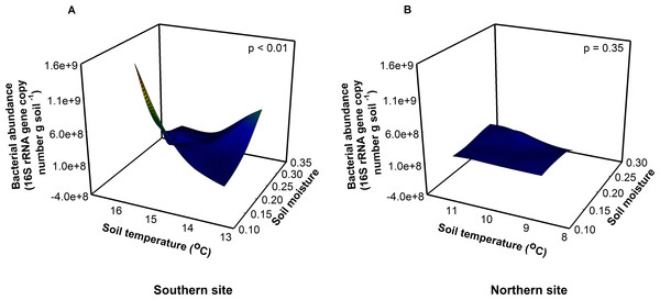 Site, soil temperature, and soil moisture interactively altered bacterial abundance (F = 18.17, p < 0.01).