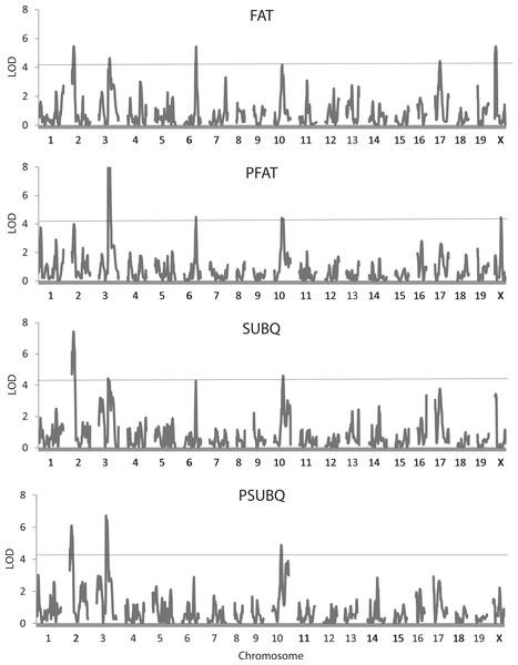 Quantitative trait locus maps of four fat traits.