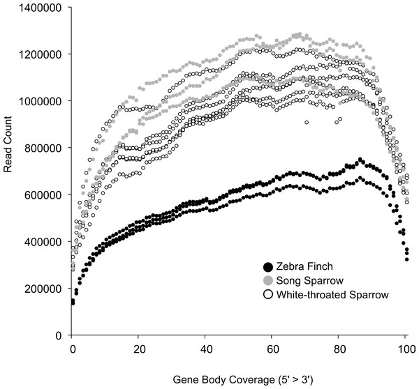 Coverage of zebra finch gene models by RNA-seq reads.