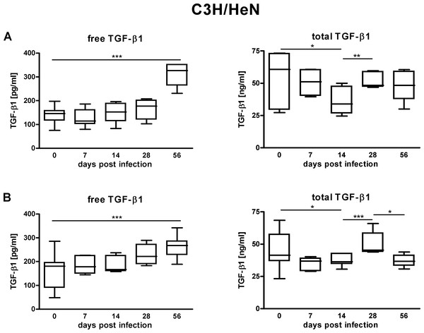 TGF-β1 content in the sera of C3H/HeN mice suffering from lyme disease.