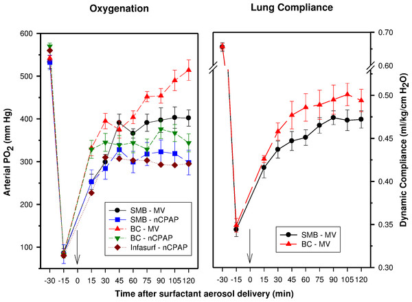 Oxygenation and dynamic compliance.