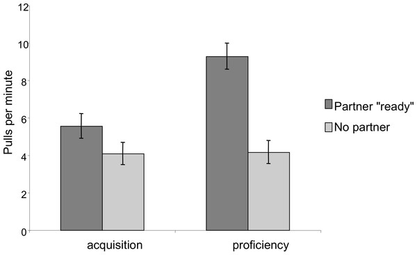 Comparison of pulling rates per minute during the acquisition and proficiency phases for dyadic cooperation.