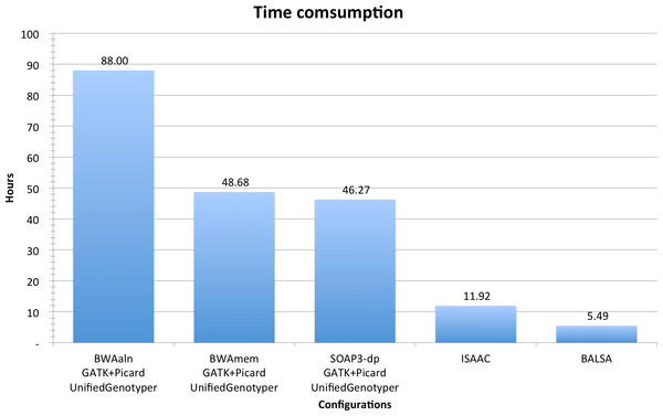 Time consumption comparison between pipelines analyzing YH 50-fold 100 bp paired-end WGS data.