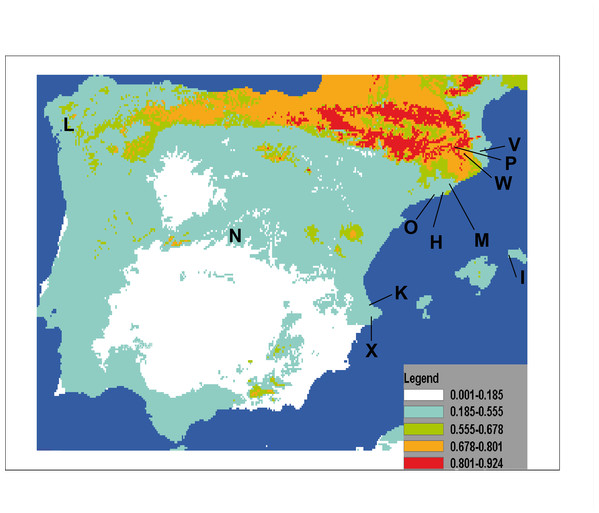 Potential distribution of Caenoplana coerulea species across the Iberian Peninsula.