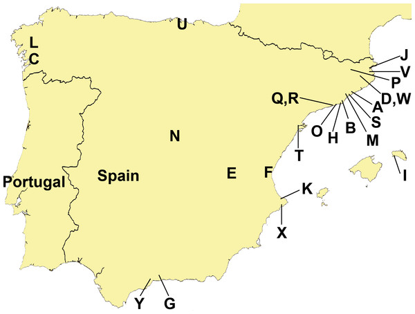 Distribution of sampling localities of introduced terrestrial flatworms in the Iberian Peninsula.