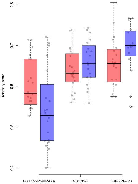 Memory score for each geneotype.