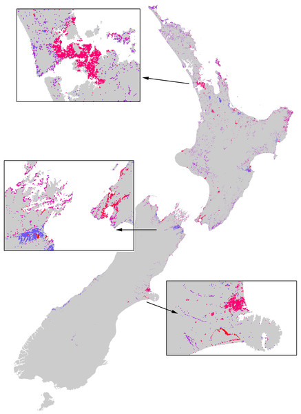 The extent of the impacts of the Asian Paper wasp across New Zealand based on a combination of potential distribution, land-cover density, and foraging intensity.