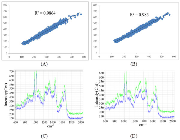 The comparison of Raman spectra obtained by un-normalized automatic and manual measurements.