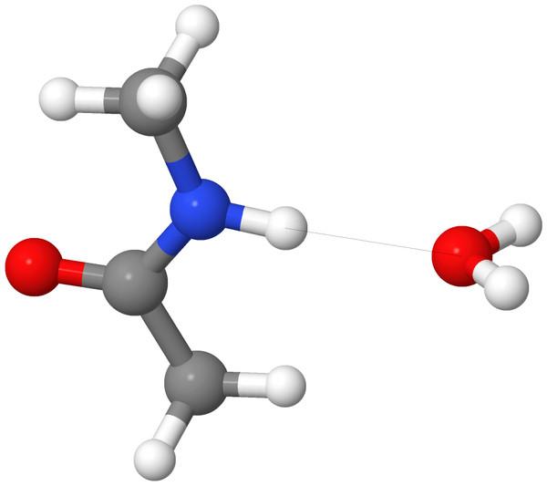 Hydrogen bond configuration of complex 16 of the S66 set.