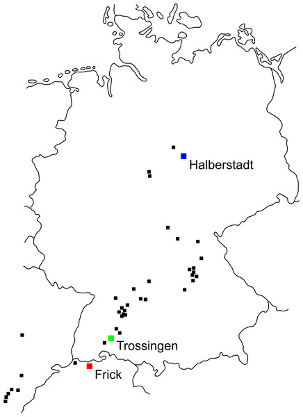Plateosaurus localities in Germany, France and Switzerland.