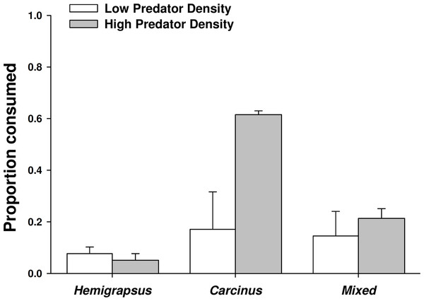 Crab predation of mussels as individuals and heterospecific and conspecific pairs.