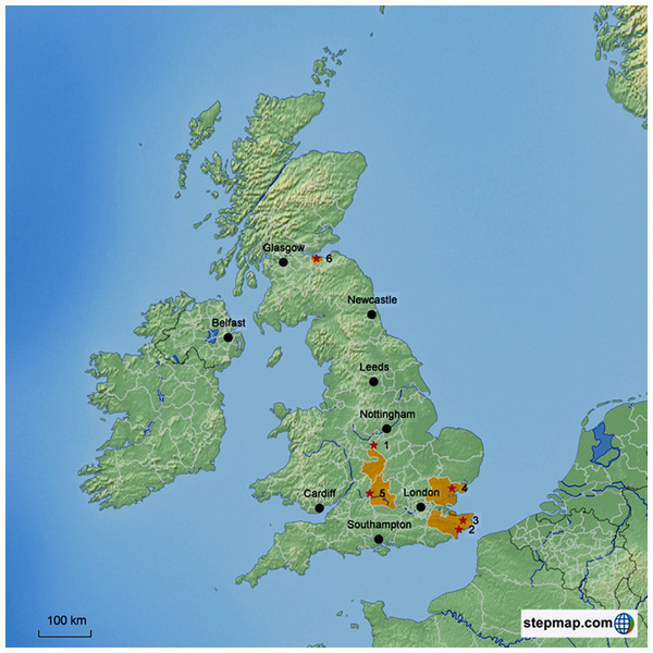 Map of The United Kingdom showing the sampling locations.