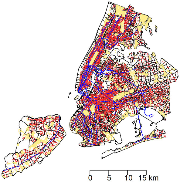 The 43,542 rat sightings reported to the NYC Department of Health and Mental Hygiene are plotted with an overlay of recreational public spaces and subway lines in a map of New York City census tracts.