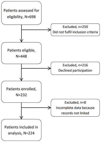 Flow chart of included and excluded patients.