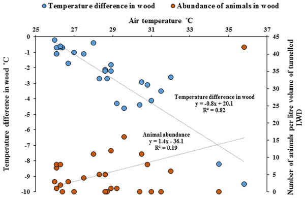 Differences of temperature in wood compared with outside air temperatures, and animal abundance.