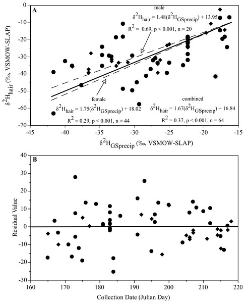 Relationships of δ2Hhair and δ2HGSprecip during the estimated period of molt for males and females of L. borealis.