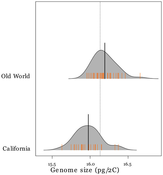 Genome sizes of tetraploid Avena species in the Old World and California.