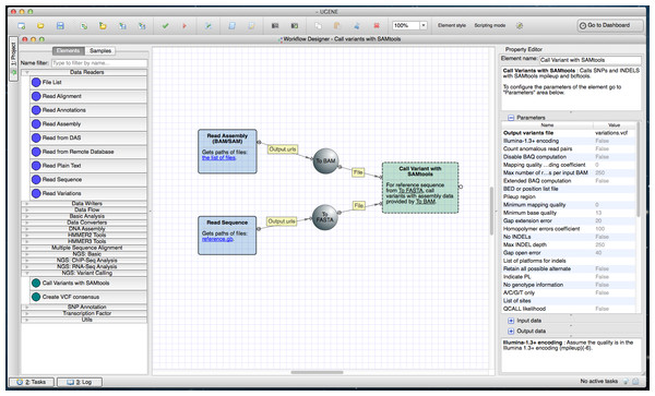 SAMtools workflow in a Workflow Designer window.