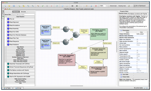 Tuxedo workflow in a Workflow Designer window.