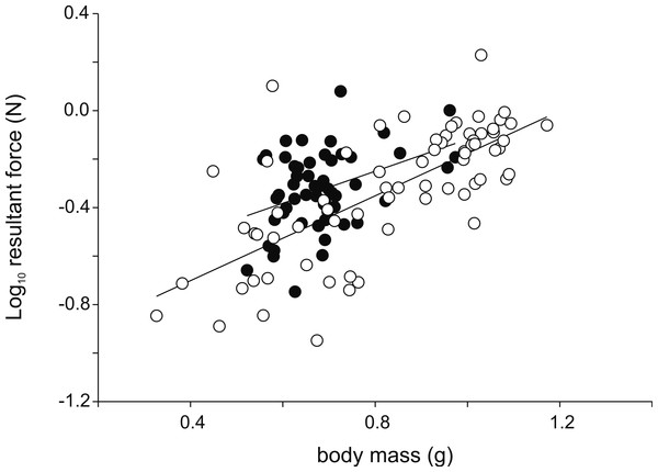 Scatter plot illustrating the differences in the resultant jump force for a given body mass.
