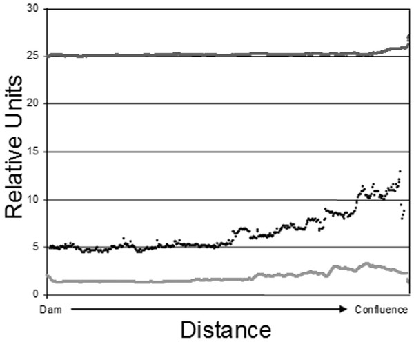 Epilimnetic variation in temperature (dark gray; Celsius), turbidity (black; NTU), and Chl-a concentration (light gray; µg/L) along the long axis of Dow Lake midway through the study (25 July 2007).