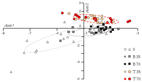 Principal component analysis of the fish groups according to their gene expression pattern.