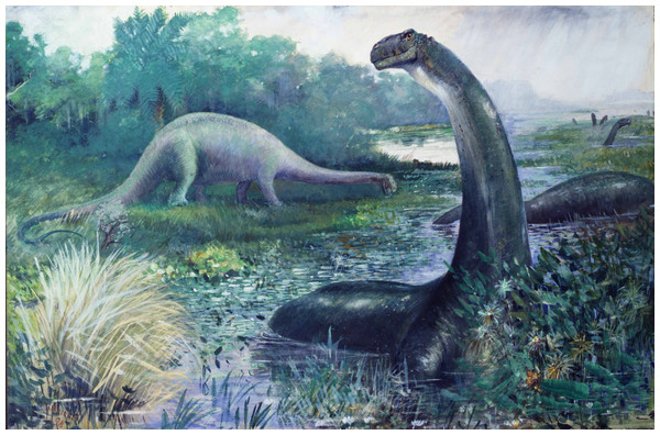 Charles R. Knight's famous 1897 painting of sauropods, which were then considered amphibious.