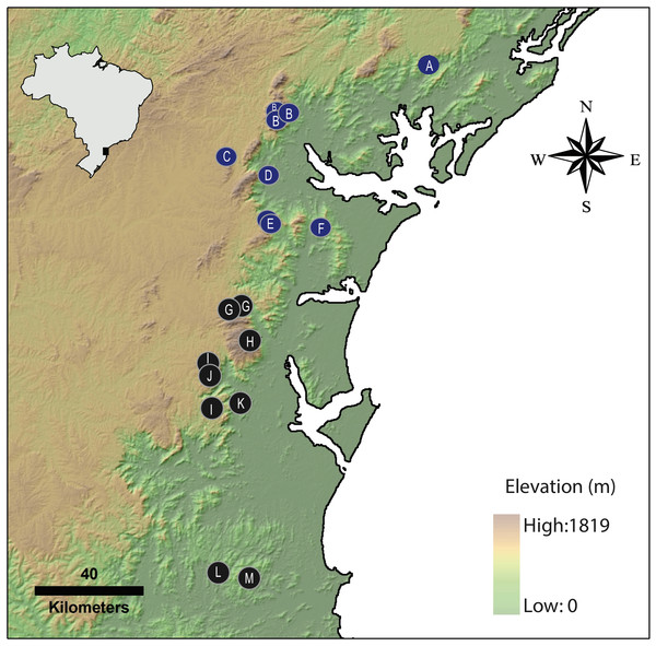 Geographical distribution of Brachycephalus species of the pernix group.