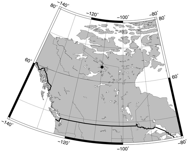 Map showing the location of Slipper Lake in the tundra of the Northwest Territories in Canada.