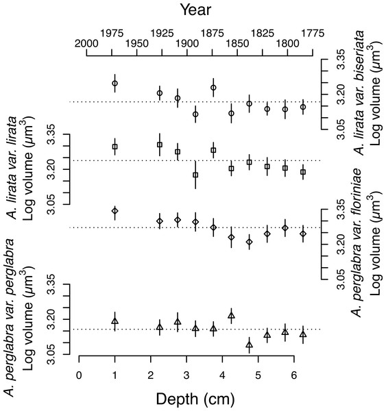 Changes in the average log volume (µm3) of valves of the four dominant Aulacoseira species over the last ∼200 years.