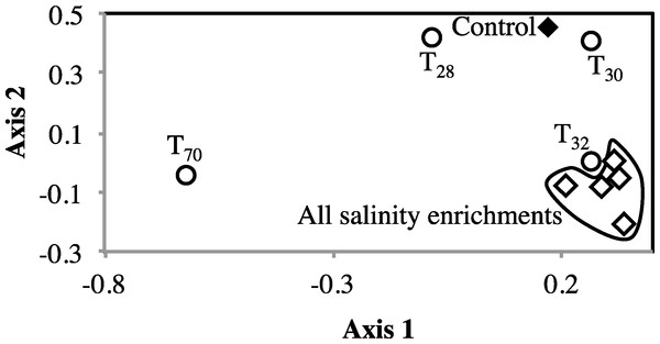 Non-metric multidimensional scaling based on pairwise Morisita-Horn dissimilarity indices between abundant members of all enrichments (stress value = 0.109, the two axes explain 79.5% of the variance).