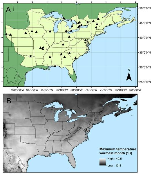 Calopteryx maculata sampling sites.