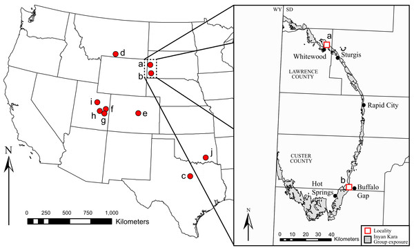 Geographic distribution of Early Cretaceous iguanodontians in North America.