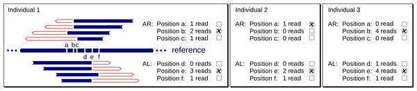Example instance of our two-level voting system that determines the exact breakpoints of an Alu insertion.