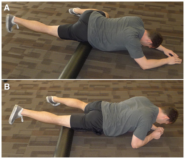 Starting (A) and ending (B) position of the foam roll protocol.