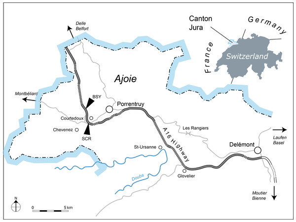Geographical map of the Ajoie Region, Canton Jura, Switzerland.